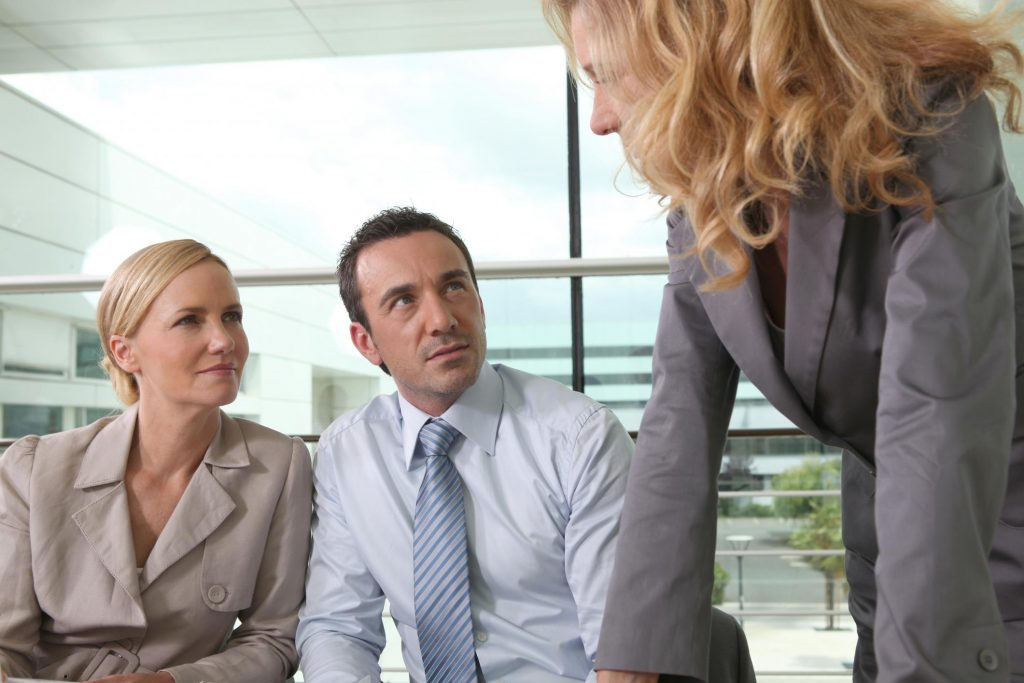 clients discuss with attorney